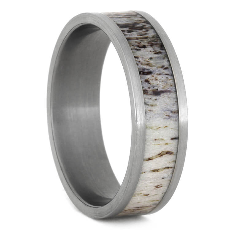 Natural Deer Antler Ring In Titanium, Size 12.5-RS9390 - Jewelry by Johan