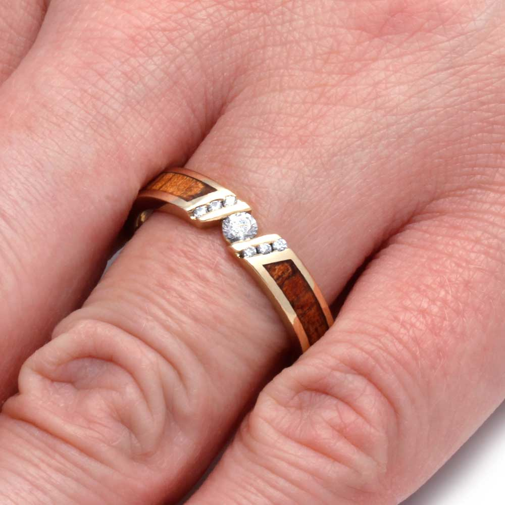 Unique Diamond Engagement Ring With Koa Wood, Yellow Gold Ring ...