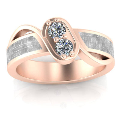 Moissanite Engagement Ring in Rose Gold, Meteorite Ring-3380 - Jewelry by Johan