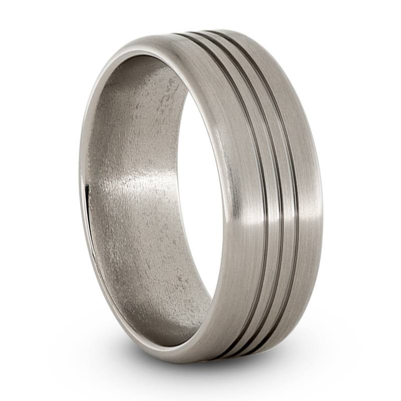 Mens Wedding Band, Grooved Titanium Ring-JIRMTA000919 - Jewelry by Johan