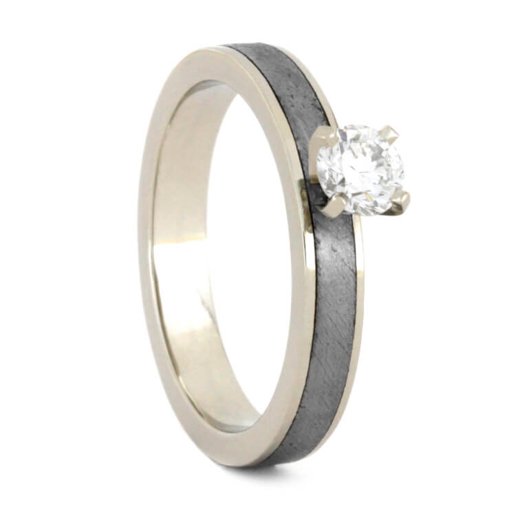 Solitaire Meteorite Engagement Ring With Round Cut Diamond, White Gold-3562 - Jewelry by Johan