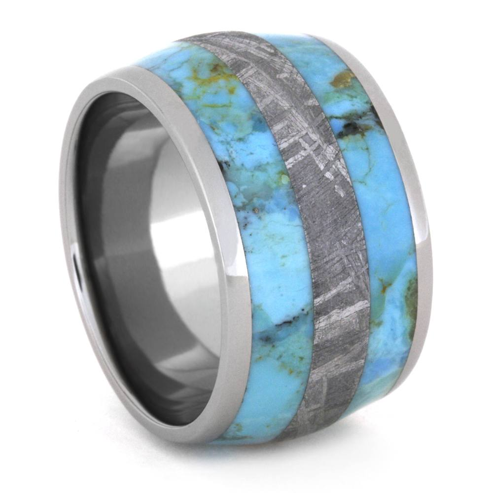 Turquoise Ring with Meteorite Inlay, Wide Rustic Wedding Band Design