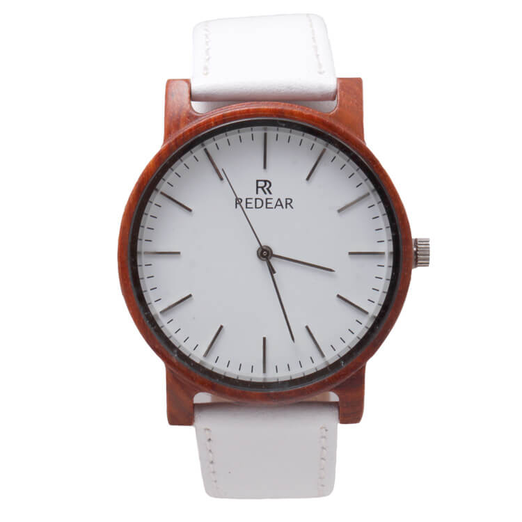 White Leather Watch With Red Sandalwood Frame-SW1008