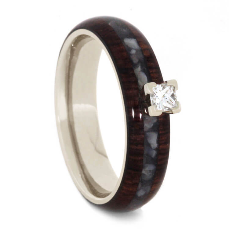 Diamond Engagement Ring with Mother of Pearl & Honduran Rosewood-3135