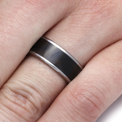 Tungsten Ring With Agate, Stone Wedding Band-2264 - Jewelry by Johan