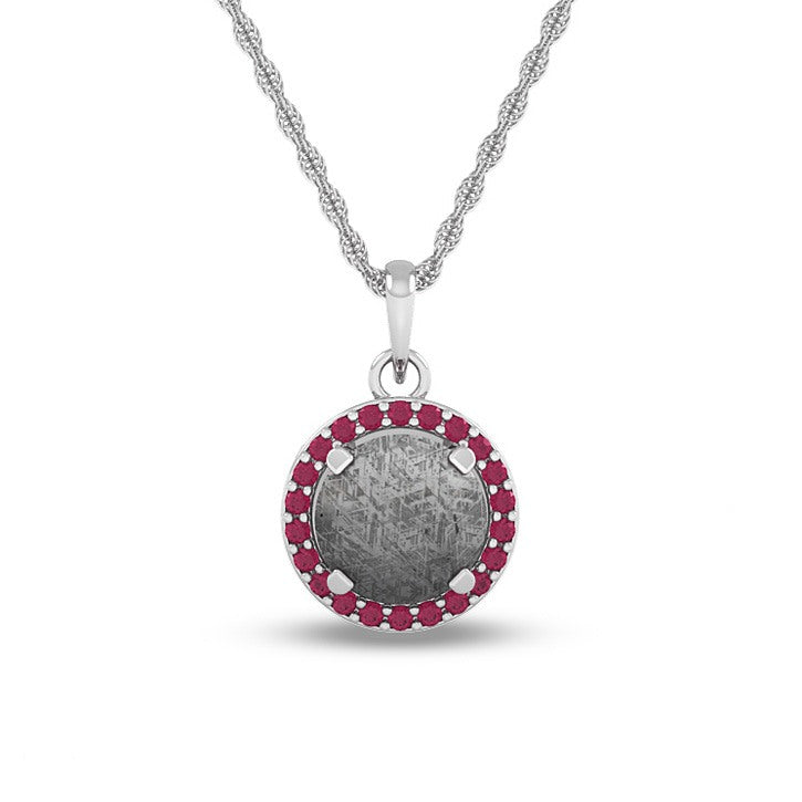 October Birthstone Pendant with Meteorite and Pink Tourmaline on 14k White Gold Necklace-1686 - Jewelry by Johan