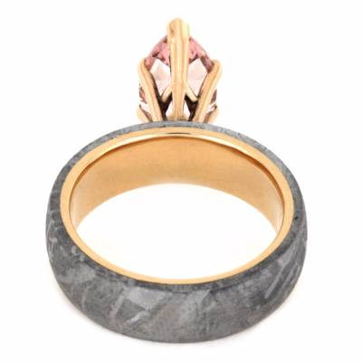 Marquise Morganite Engagement Ring with Meteorite-2228 - Jewelry by Johan