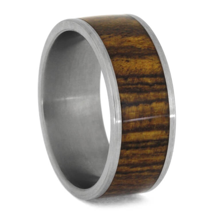 Bocote Wood Men's Wedding Band In Titanium, Size 10.5-RS9846 - Jewelry by Johan