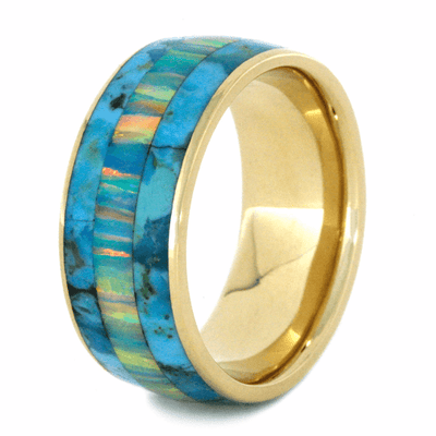 Turquoise Ring With Opal and 14k Yellow Gold-2198 - Jewelry by Johan