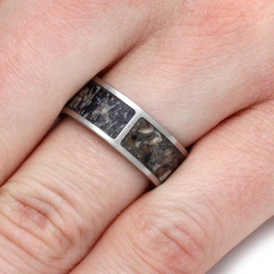 Titanium Pet Memorial Ring With Deer Antler And Pet Ash Inlays-2825 - Jewelry by Johan