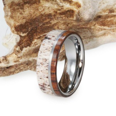 Titanium Ring With Ironwood and Deer Antler