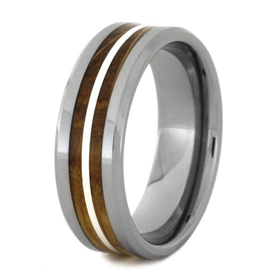 Tungsten Ring With Whiskey Barrel Oak Wood Inlays And Silver-2870 - Jewelry by Johan