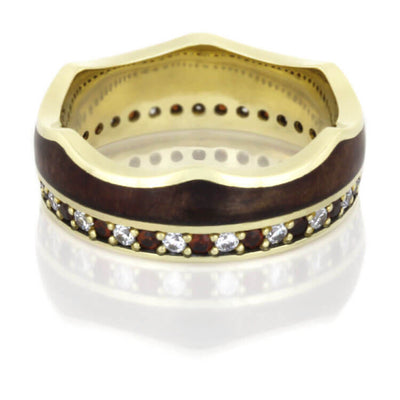 Crown Wedding Band Set, Eternity Rings With Wood in Yellow Gold-DJS1006YG - Jewelry by Johan