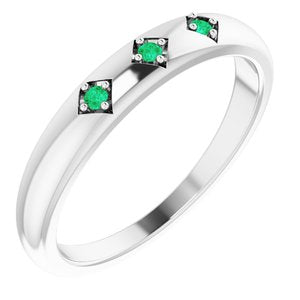Platinum Emerald Stackable Ring