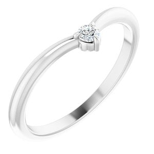Platinum .06 CT Diamond Stackable V Ring - Jewelry by Johan