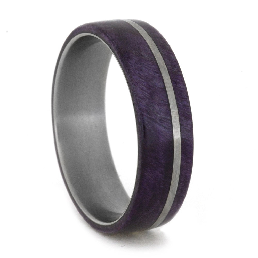 Purple Box Elder Wood Ring and Titanium Band, Size 11.25-RS8348 - Jewelry by Johan