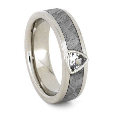 White Sapphire Engagement Ring, Meteorite Wedding Band in 14k White Gold