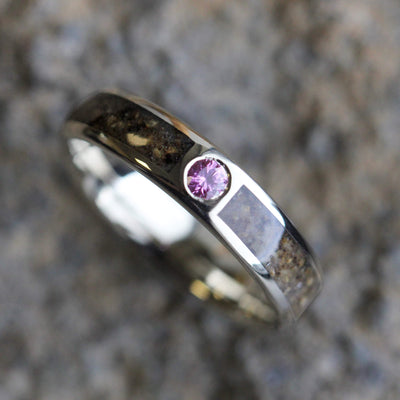 White Gold Dinosaur Bone Engagement Ring with Pink Sapphire-2999 - Jewelry by Johan
