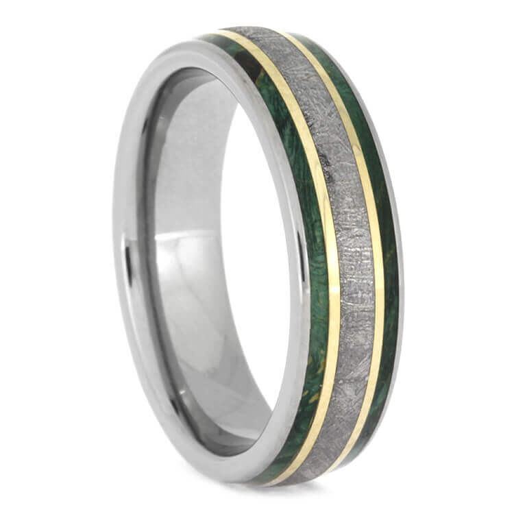 Meteorite And Green Wood Ring With Gold Pinstripes, Size 9.75-RS9863 - Jewelry by Johan