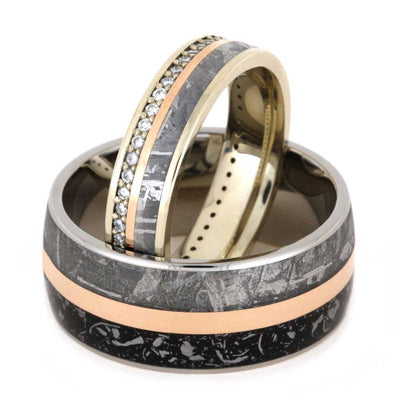 Meteorite Wedding Band Set with Rose Gold Pinstripes and Stardust™-2834 - Jewelry by Johan