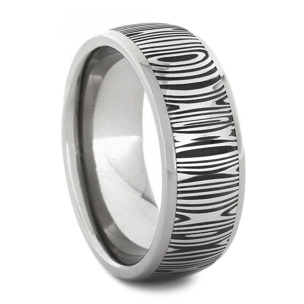 Damascus Wedding Band and Stainless Steel Ring-1750 - Jewelry by Johan