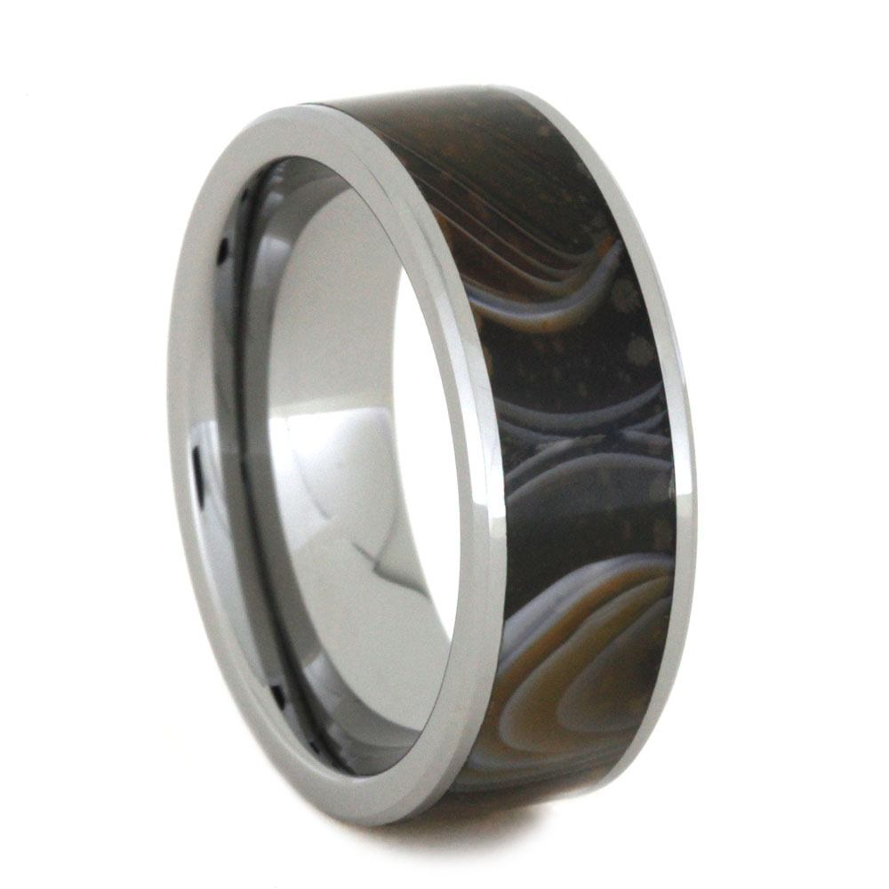 Stone Ring, Tungsten Wedding Band Inlaid With Agate-2821 - Jewelry by Johan