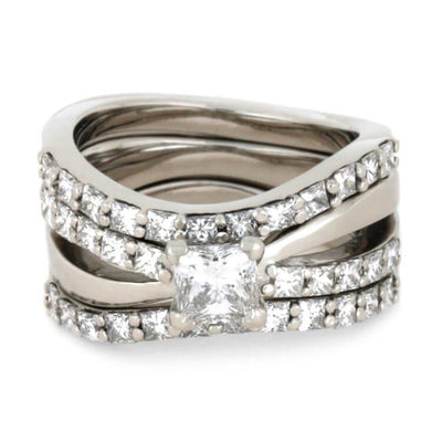 Princess Cut Diamond Engagement Ring With Complete Bridal Set-2364 - Jewelry by Johan