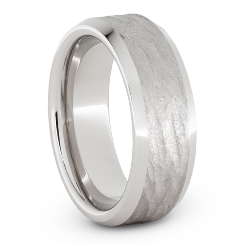 Serinium Wedding Band with Bark Finish-JIRMSA002086 - Jewelry by Johan