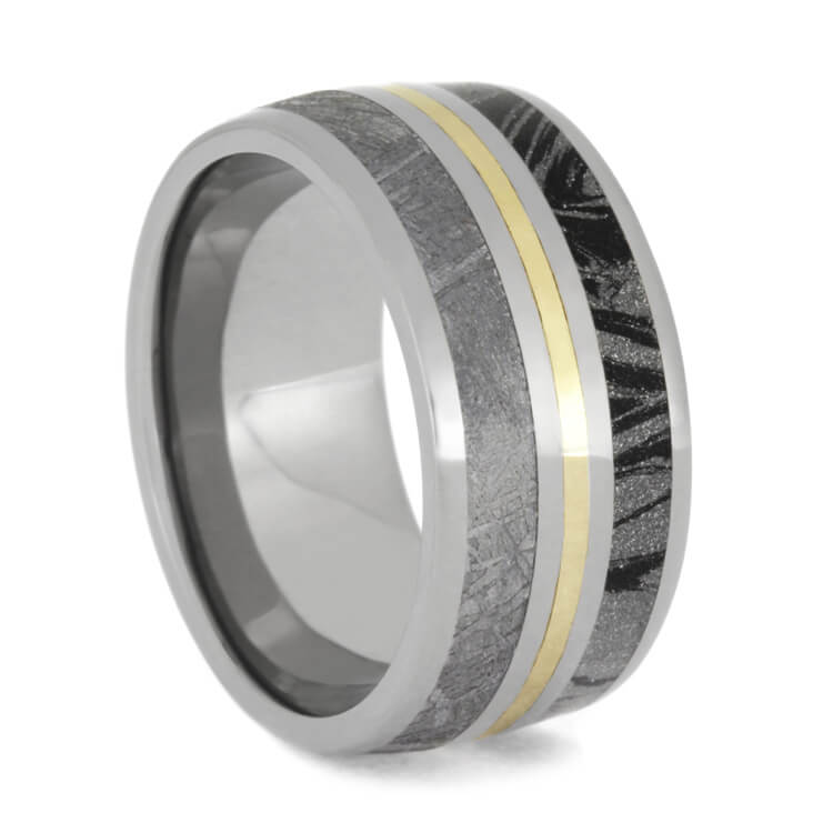 Wide Men's Wedding Band Featuring Meteorite, Mokume and Yellow Gold Center-2703 - Jewelry by Johan