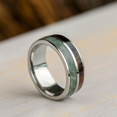 Green Jade Ring With Natural Redwood In Titanium Wedding Band-3398 - Jewelry by Johan
