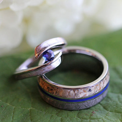 Meteorite and Dinosaur Bone Wedding Ring Set With Sapphire Engagement Ring-3315 - Jewelry by Johan