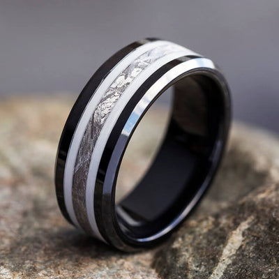 Meteorite Ring, Black Ceramic Wedding Band With White Enamel Pinstripes-2631 - Jewelry by Johan