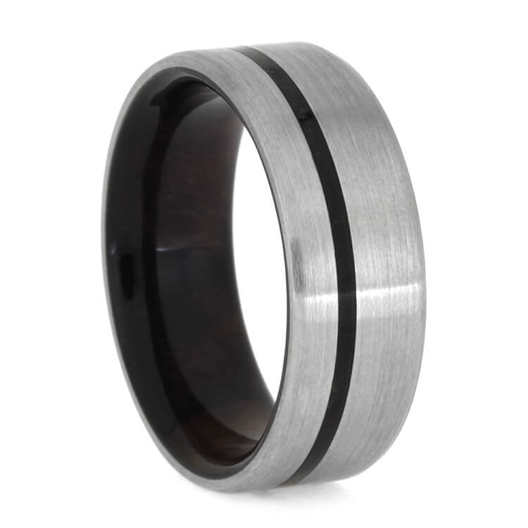 Caribbean Rosewood Ring In Brushed Titanium, Size 9.75-RS10051 - Jewelry by Johan