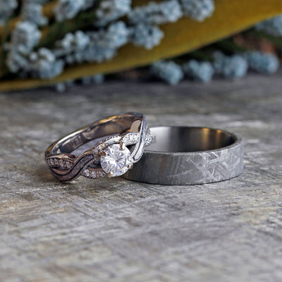Meteorite Wedding Ring Set, Moissanite Engagement Ring And Men's Band-2301 - Jewelry by Johan
