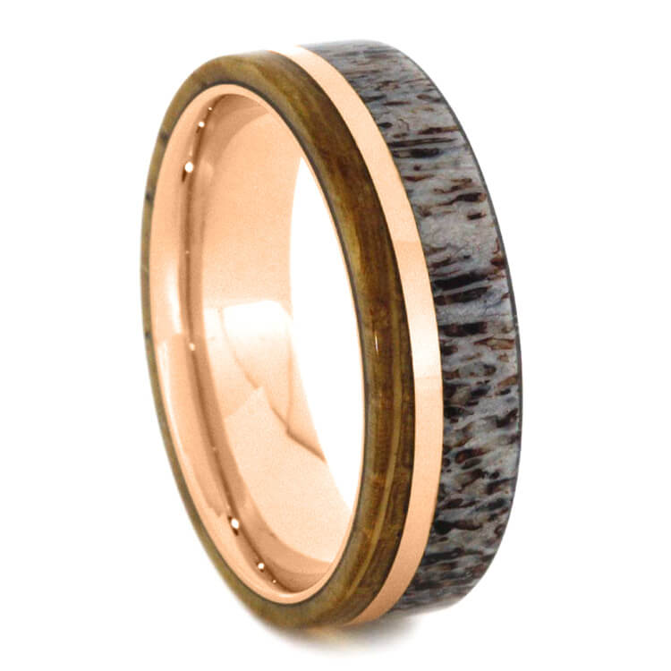 Whiskey Barrel Oak Ring With Deer Antler In Rose Gold