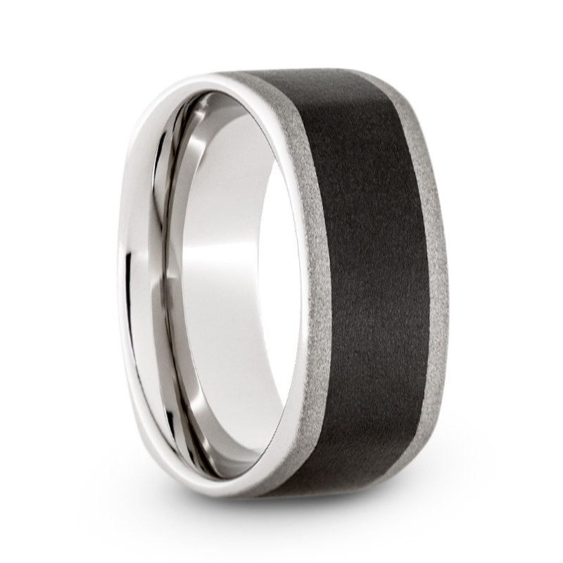 Serinium Wedding Band, Square Band with Black Ceramic Inlay and Sandblast Finish-JIRMSA003032 - Jewelry by Johan