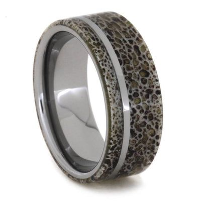 Tungsten Pinstripe Men's Wedding Band With Antler-1827 - Jewelry by Johan