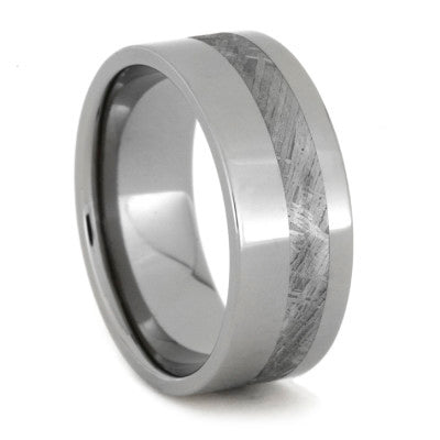 Meteorite Wedding Band Inlaid In Solid Titanium
