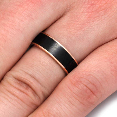 Rose Gold Wedding Band With Fossil