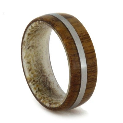 Wood Wedding Band with Titanium Stripe and Antler Sleeve