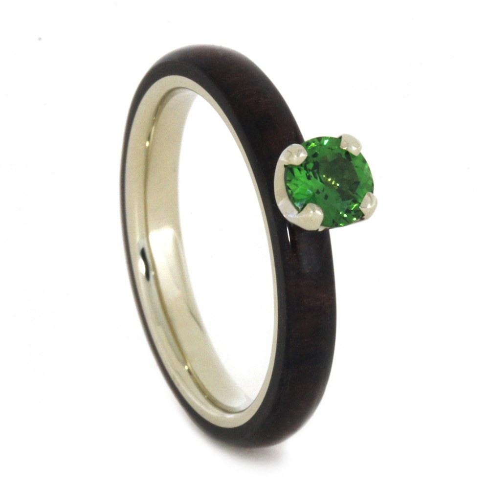 Tsavorite Garnet Ring with Rosewood Over 14k White Gold-2045 - Jewelry by Johan