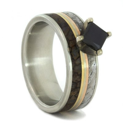Black Diamond Ring with Dinosaur Bone & Triple Gold Pinstripe
