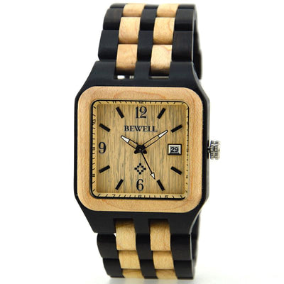 Square Wood Watch For Men With Arrow Second Hand
