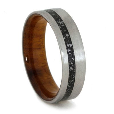 Brushed Titanium Ring With Black Stardust And Ironwood Burl Sleeve