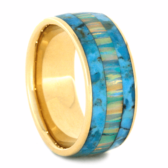 Turquoise Ring With Opal and Yellow Gold-2198 - Jewelry by Johan