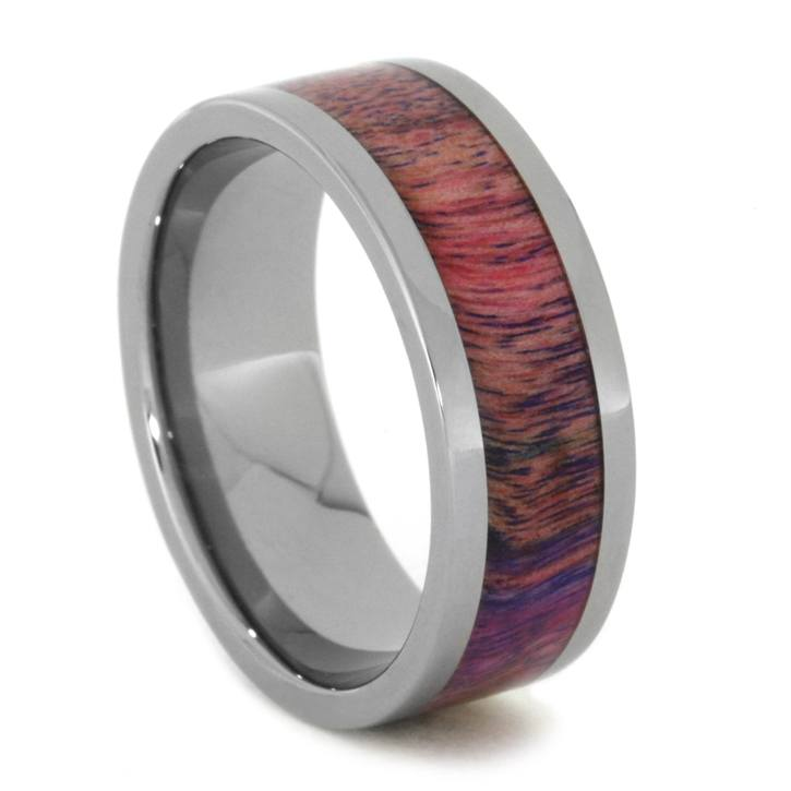 Pink Purple Ring Made with Poplar Wood in Solid Titanium-1975 - Jewelry by Johan