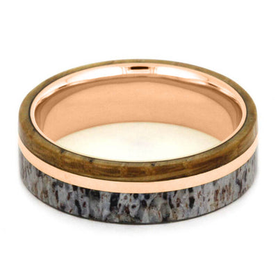 Rose Gold Men's Wedding Band with Wood