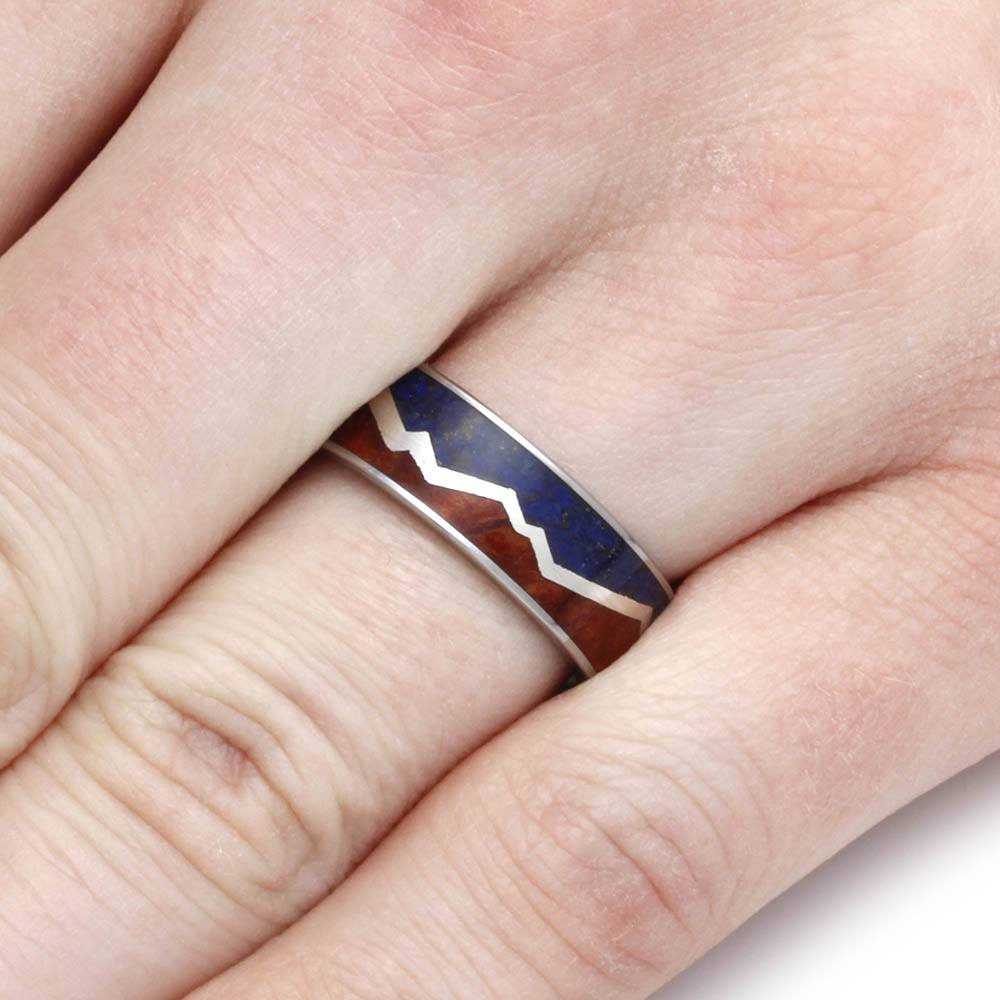Mountain Ring with Lapis and Redwood Split by Sterling Silver ...