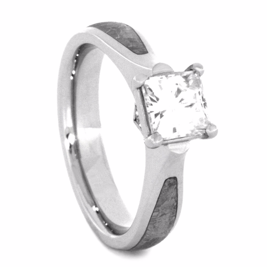 10k White Gold Meteorite Engagement Ring With Princess Cut Moissanite