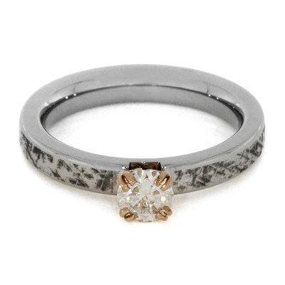 Moissanite Engagement Ring With Mimetic Meteorite-2019 - Jewelry by Johan
